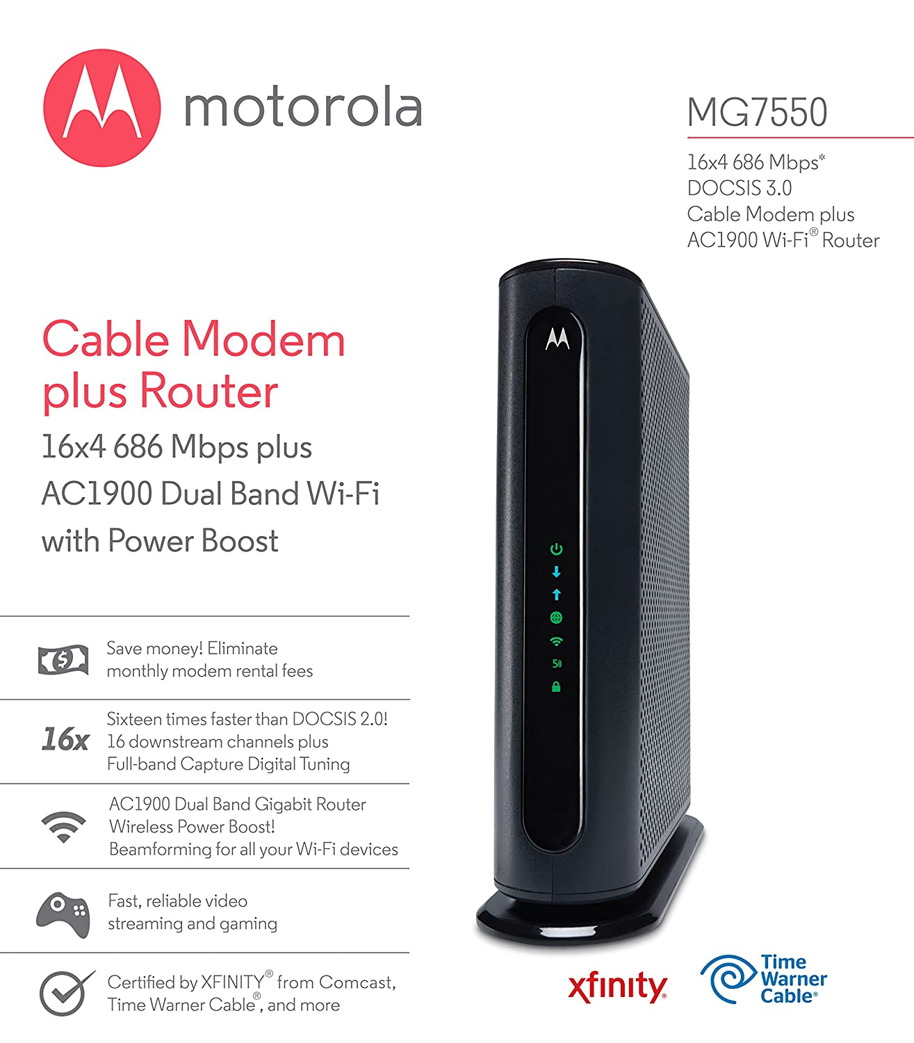 Amazon.com: MOTOROLA MG7550 16x4 Cable Modem plus AC1900 Dual Band Wi-Fi Gigabit Router with Power Boost, 686 Mbps DOCSIS 3.0 - Certified by Comcast, ...