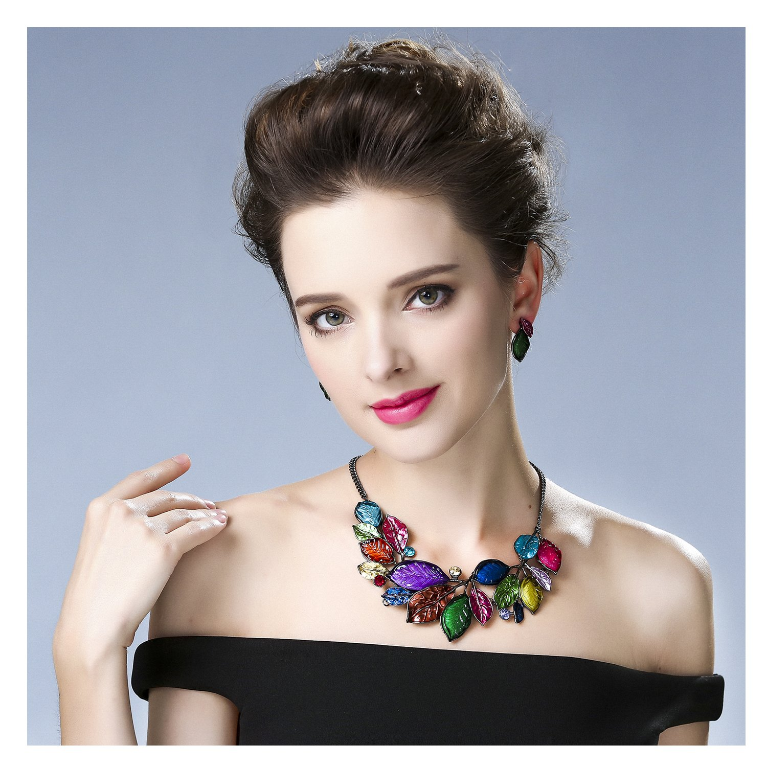 Hamer Charms Flowers Leaves Choker Pendant Statement Necklace and Earrings Jewelry Sets Women (Red)