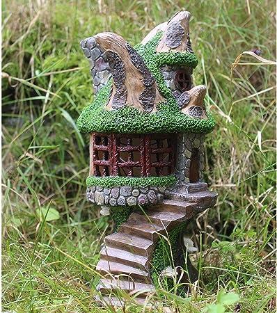 Ornamento decorativo de jardín con energía solar con hadas de casa del árbol que cambia de color hadas Casa en el árbol: Amazon.es: Hogar