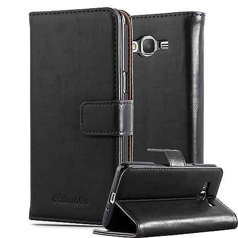 Cadorabo Hülle für Samsung Galaxy Grand Prime - Hülle in Graphit SCHWARZ – Handyhülle im Luxury Design mit Kartenfach und Sta