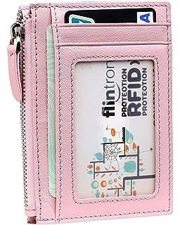 flintronic Billetera, Tarjetas de Crédito Slim Moda RFID Bloqueo Monedero de Cuero, Mini Billetera