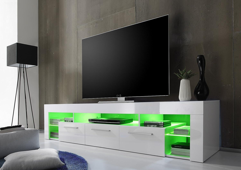 Trendteam sc85201 tv möbel lowboard, bxhxt 200 x 44 x 44 cm, weiss ...