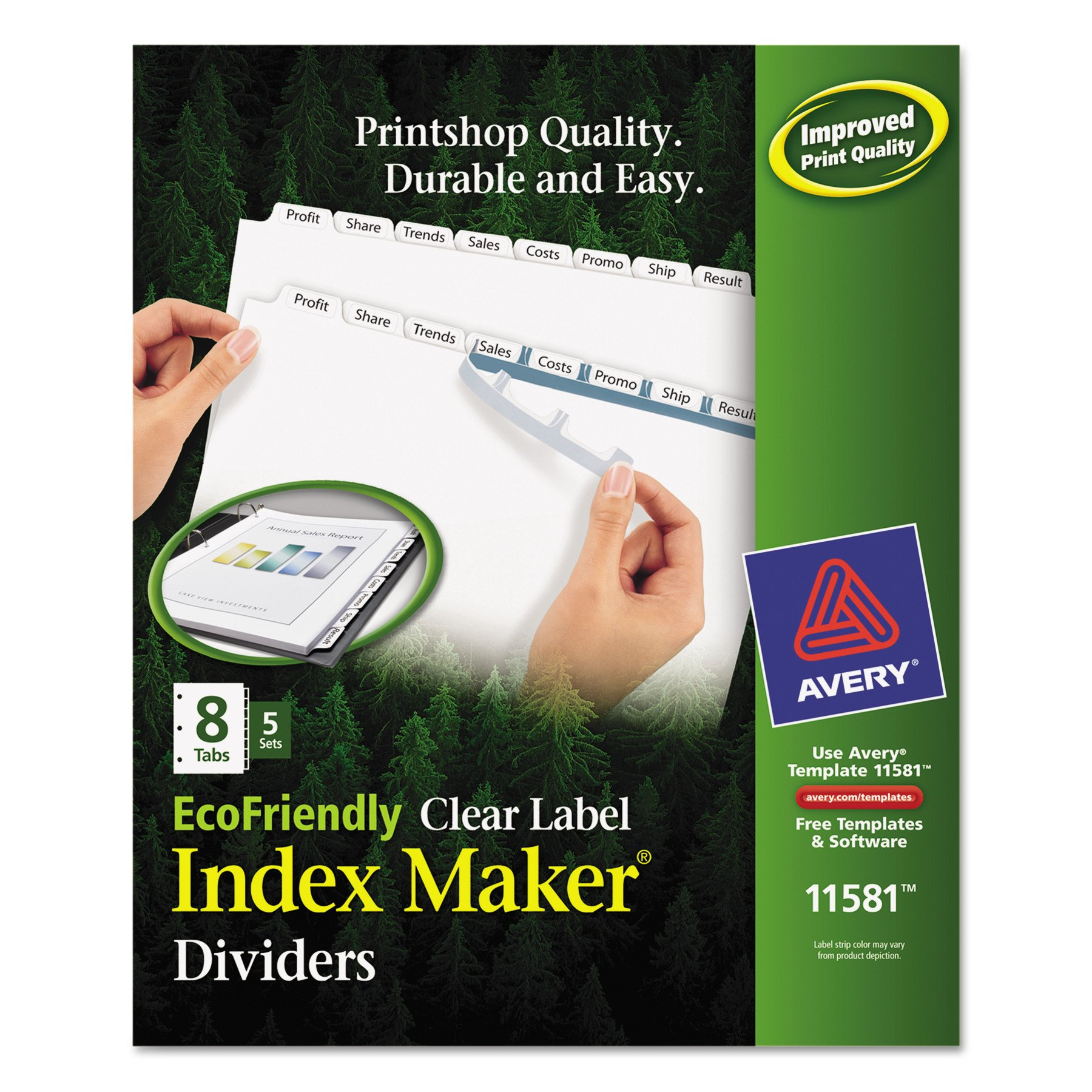 Avery 8-Tab Eco Friendly Binder Dividers, Easy Print & Apply Clear Label Strip, Index Maker, 5 Sets (11581) by AVERY