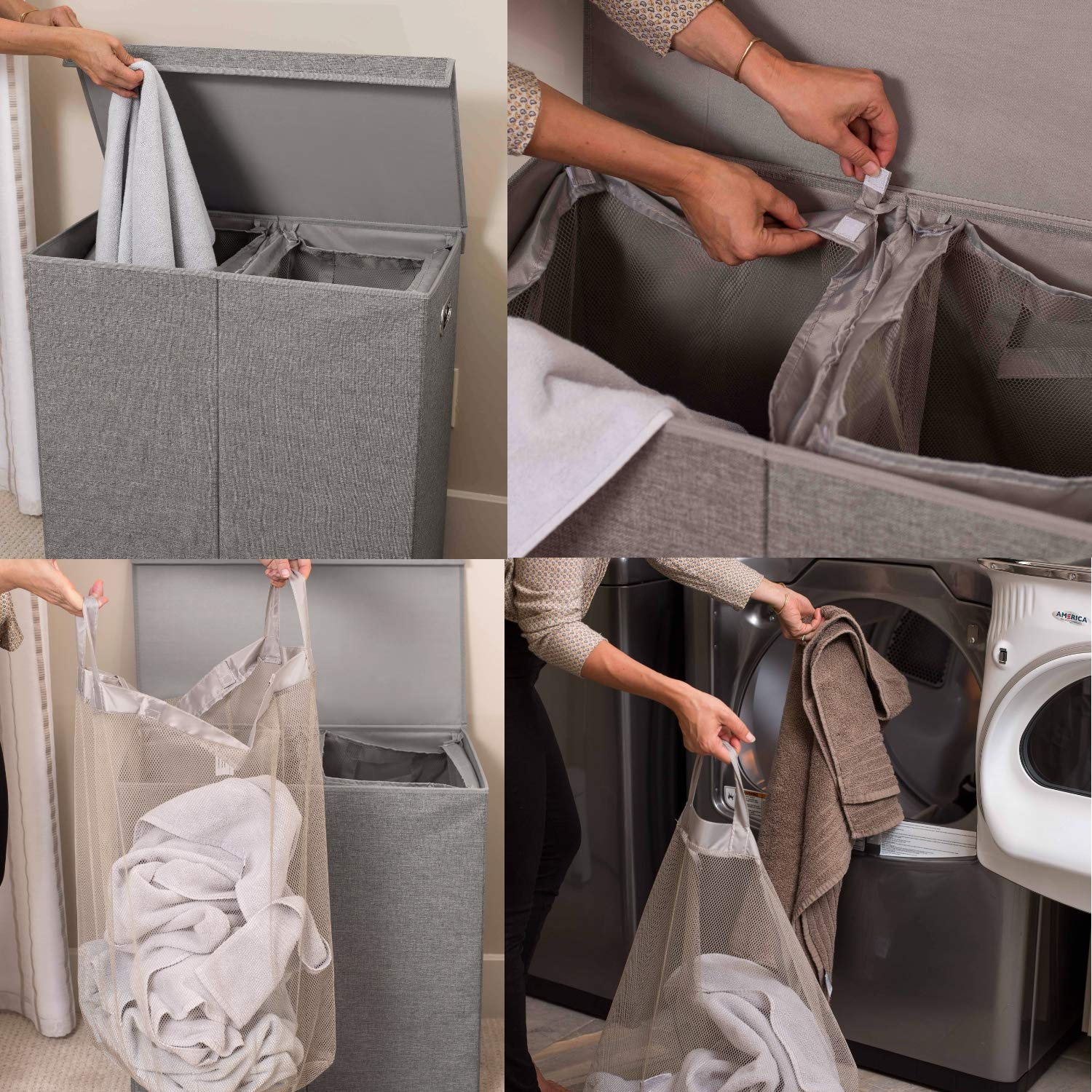 Double Laundry Hamper with Lid and Removable Liners