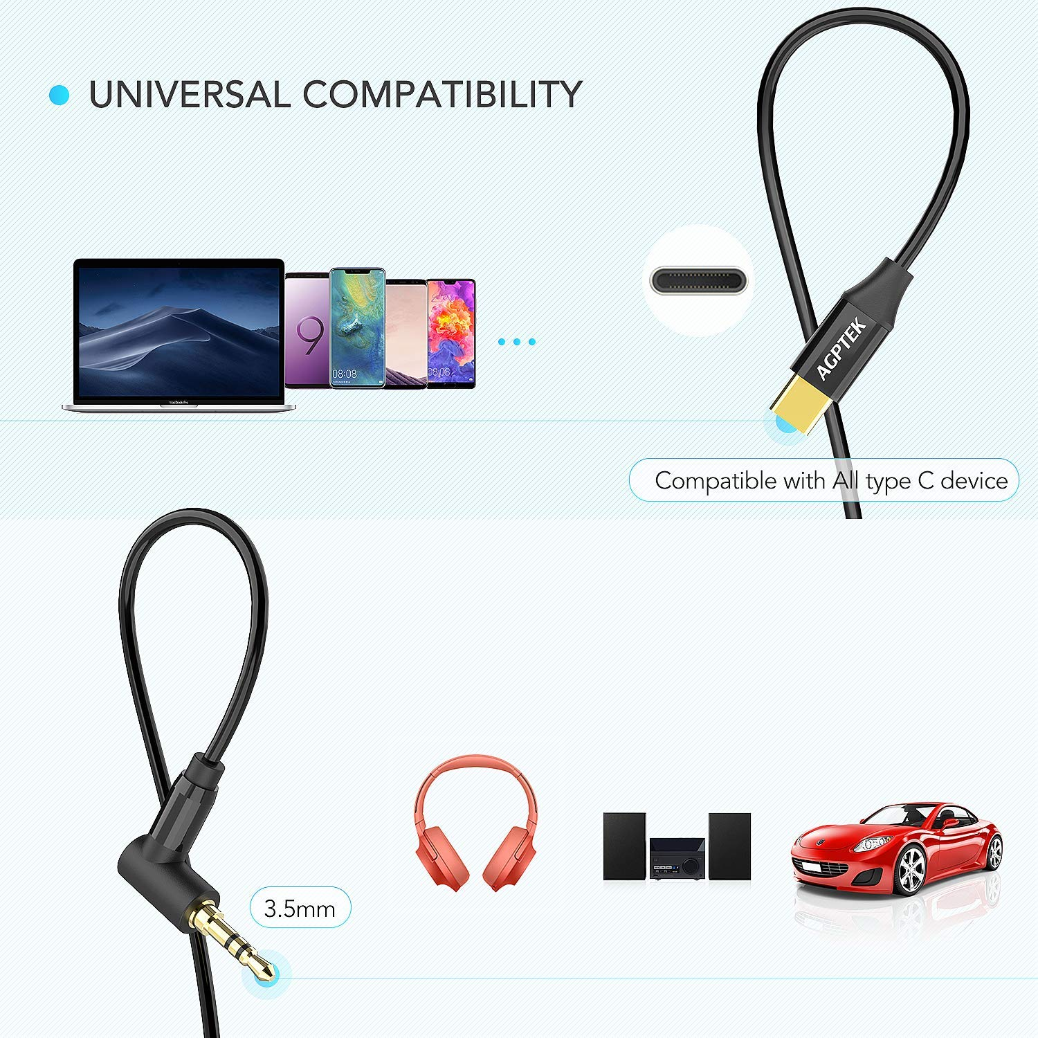 Essential Ph-1,iPad pro and More Xiaomi Huawei AGPTEK Type C to 3.5mm Male Car Aux Adapter Cord for Car//Home Stereo for Google Pixel 3//2//XL Black Moto Z USB C to 3.5mm Audio Cable