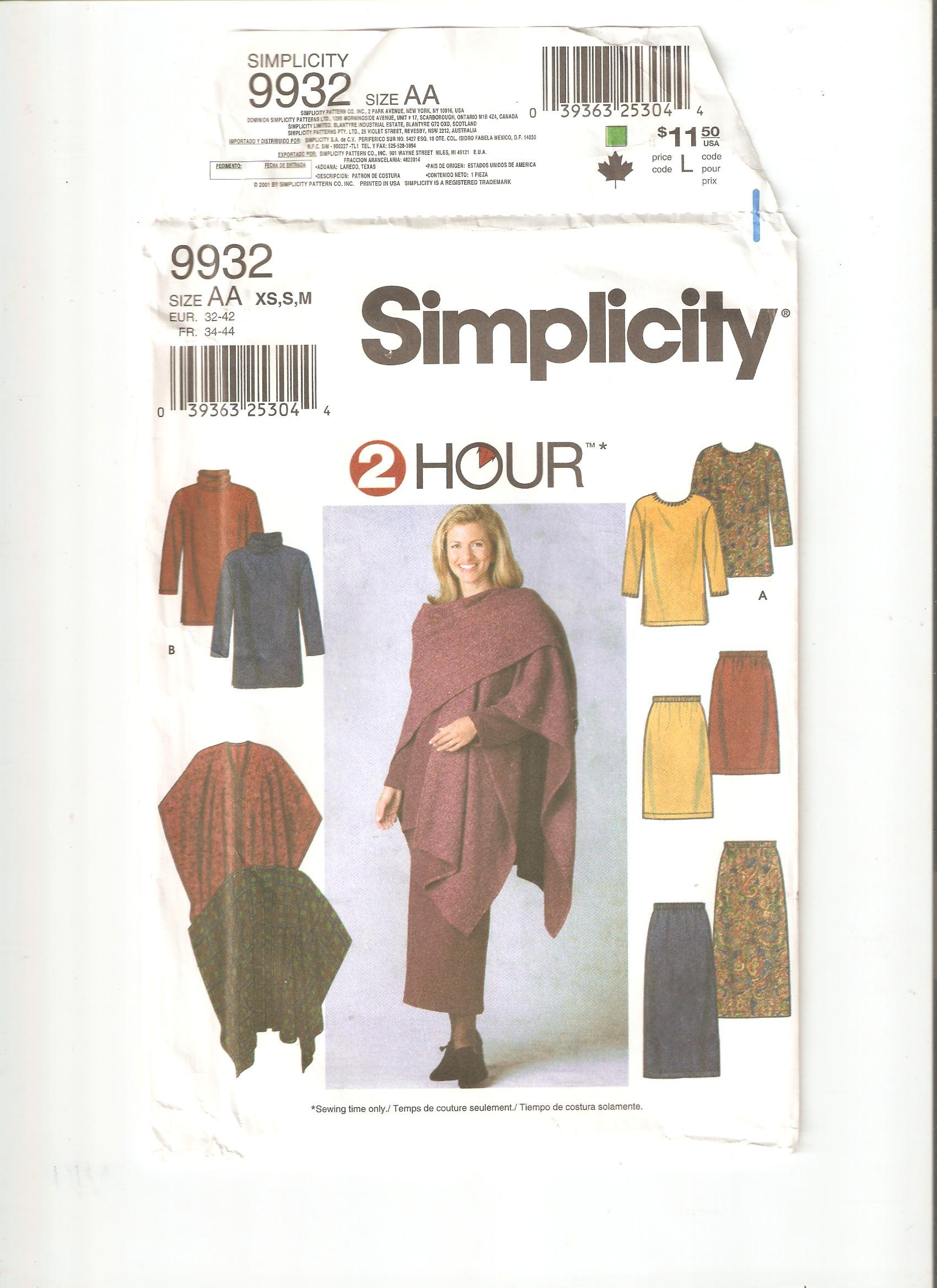 Download Simplicity pattern 9932 (Size AA / XS,S,M) pdf epub