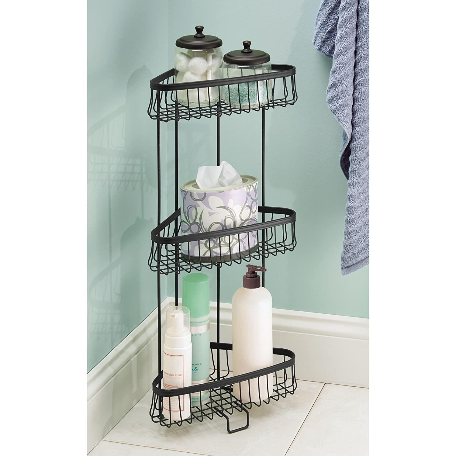 Amazon.com: mDesign Free Standing Bathroom Storage Shelves for ...
