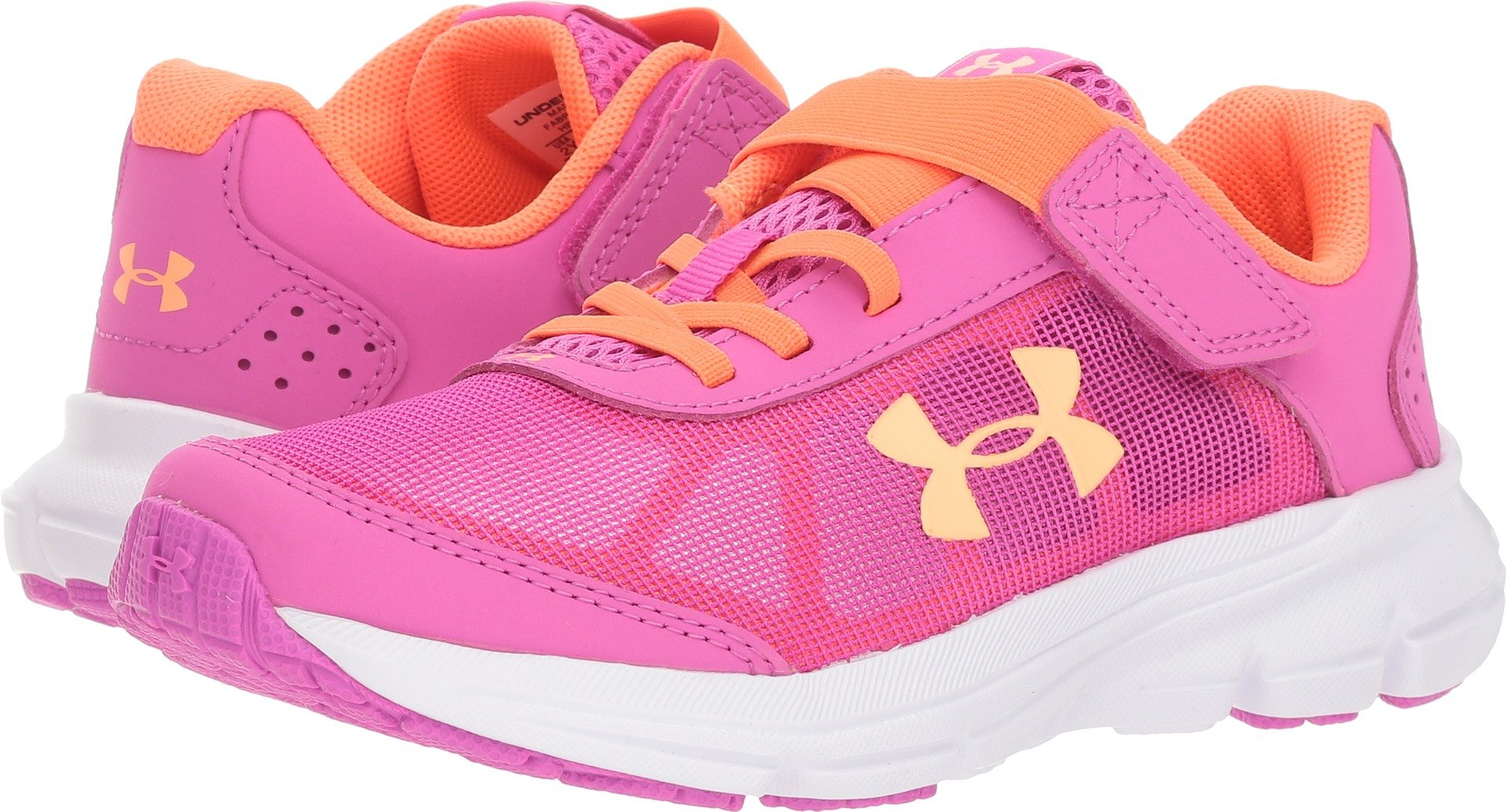 Under Armour Girls' Pre School Rave 2 Adjustable Closure Sneaker (502)/Fluo Fuchsia, 13K