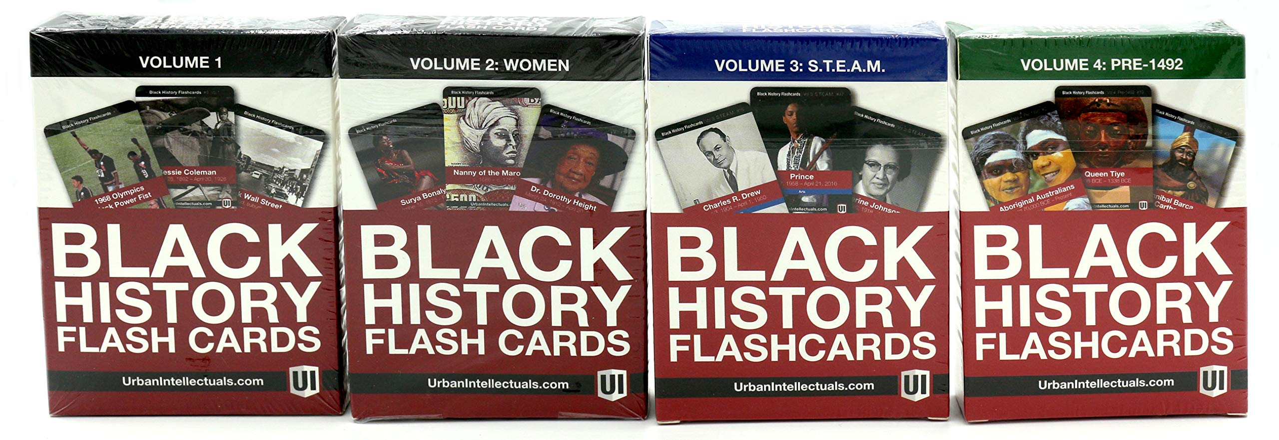Urban Intellectuals Black History Flashcards (52 Educational Card Deck) (Combo 4 Pack)