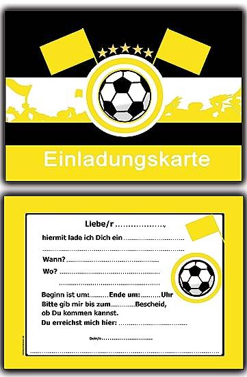 14 X Fussball Einladungskarten Schwarz Gelb Kindergeburtstag Einladung  Jungen Kinder Geburtstag   20 Stück