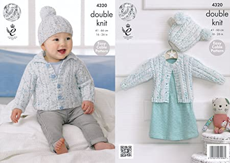 King Cole Double Knitting Pattern Easy Cable Design Baby Cardigans ...