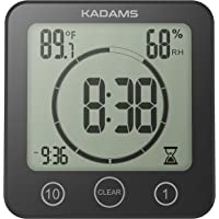 KADAMS Digital Clock Timer with Alarm, Waterproof for Water Spray for Bathroom Shower Kitchen, Touch Screen Timer, Temperature Humidity Display, Suction Cup Hanging Hole Stand, Low Battery Indicator - BLACK