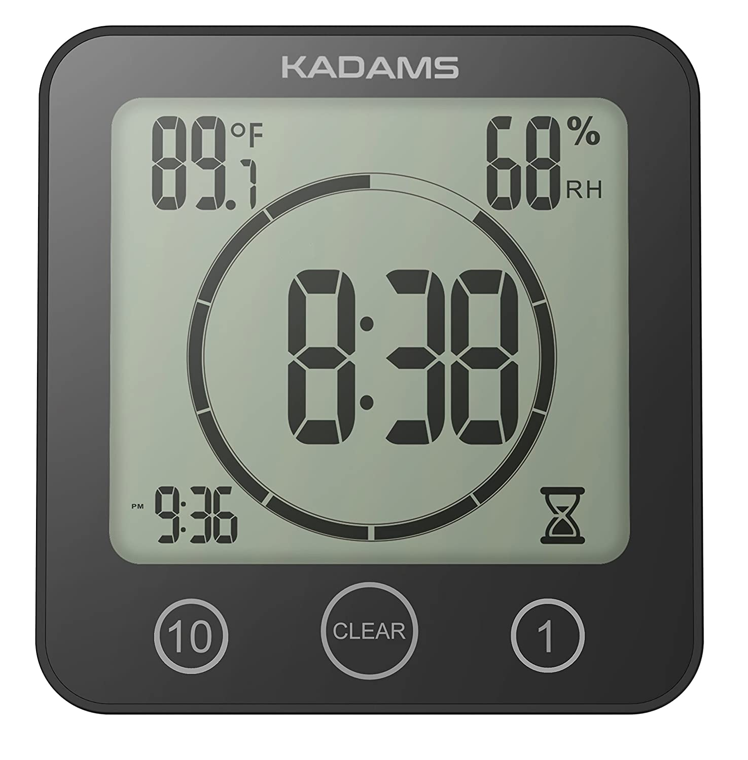 [Newest Version] KADAMS Digital Clock Timer with Alarm, Waterproof for Water Spray for Bathroom Shower Kitchen, Touch Screen Timer, Temperature Humidity Display, Suction Cup Hanging Hole Stand - BLACK K0007STH