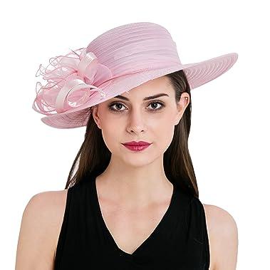 fca9670b077e2 Women s Pink Organza Wide Brim Floral Ribbon Kentucky Derby Church Dress  Sun Hat