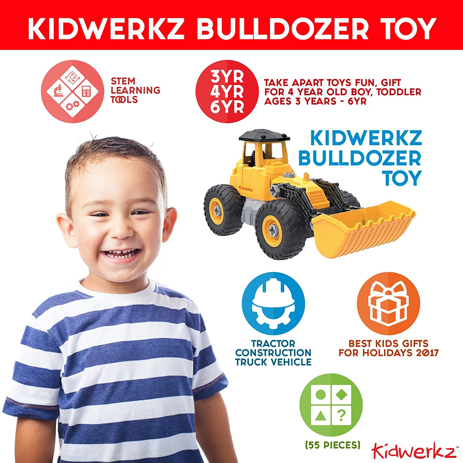 Amazon Kidwerkz Bulldozer Toy Take Apart Toys Fun Gift for