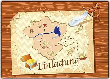 Kartenversand24 Einladungskarten Zum Kindergeburtstag Pirat   12 Stück  Piraten Schatzkarten EInladung Piratenparty Schatzkarte  Geburtstagseinladung Jungen ...