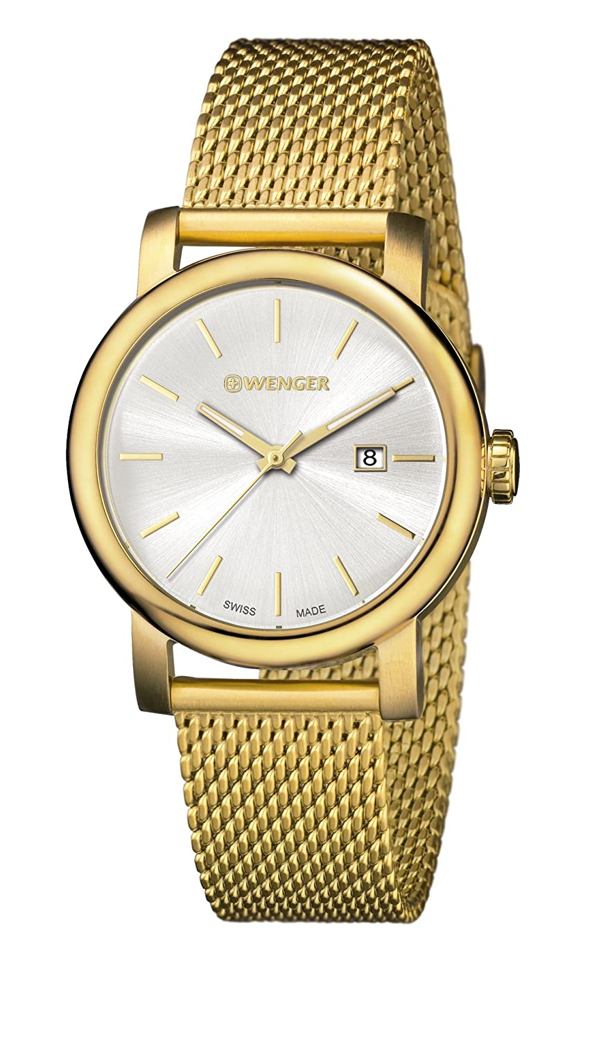 Amazon.com: Wenger Womens Urban Vintage Silver Dial Gold Strap 01.1021.118: Watches
