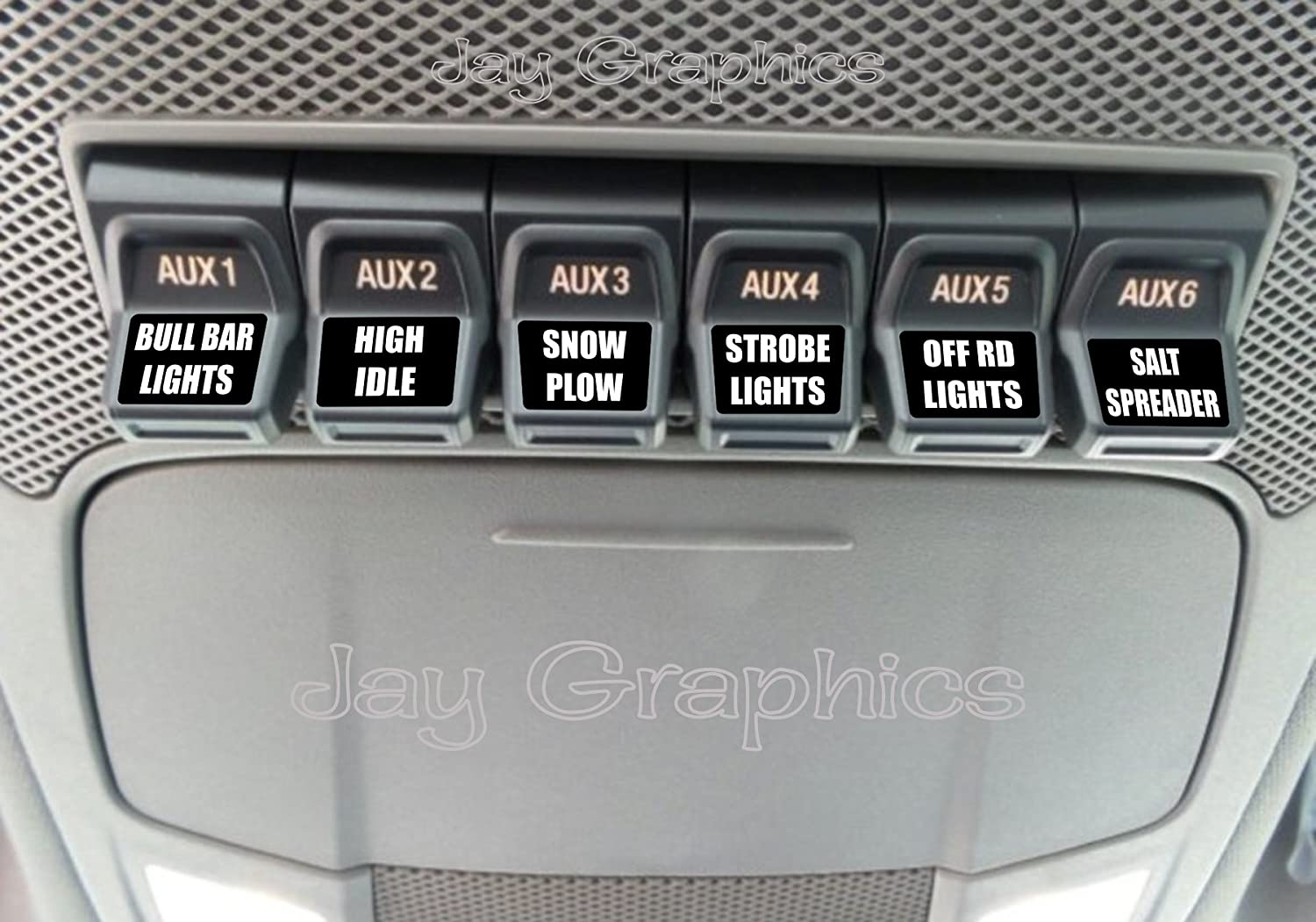 2017 & Up Uper Switch Decals | Personalized Vinyl AUX Labels | Custom Raptor Auxiliary Switch Wiring Harness on