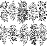 VANTATY 10 Sheets 3D Big Rose Peony Flower Girls Temporary Tattoos For Women Waterproof Black Tattoo Stickers 3D Blossom Lady