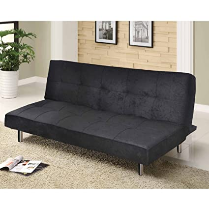 Incroyable Contemporary Futon Sofa Bed Convertible U0026 Adjustable   No Arms Black Space  Saver Home Decor