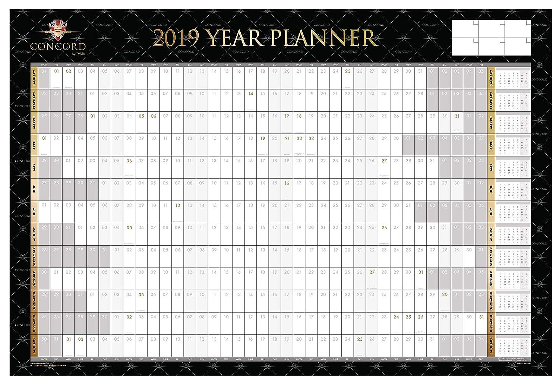 Concord, calendario agenda 2018 da parete, formato A1Plus, nero e oro, laminato, con penna e adesivi (lingua italiana non garantita) formato A1Plus Pukka Pad