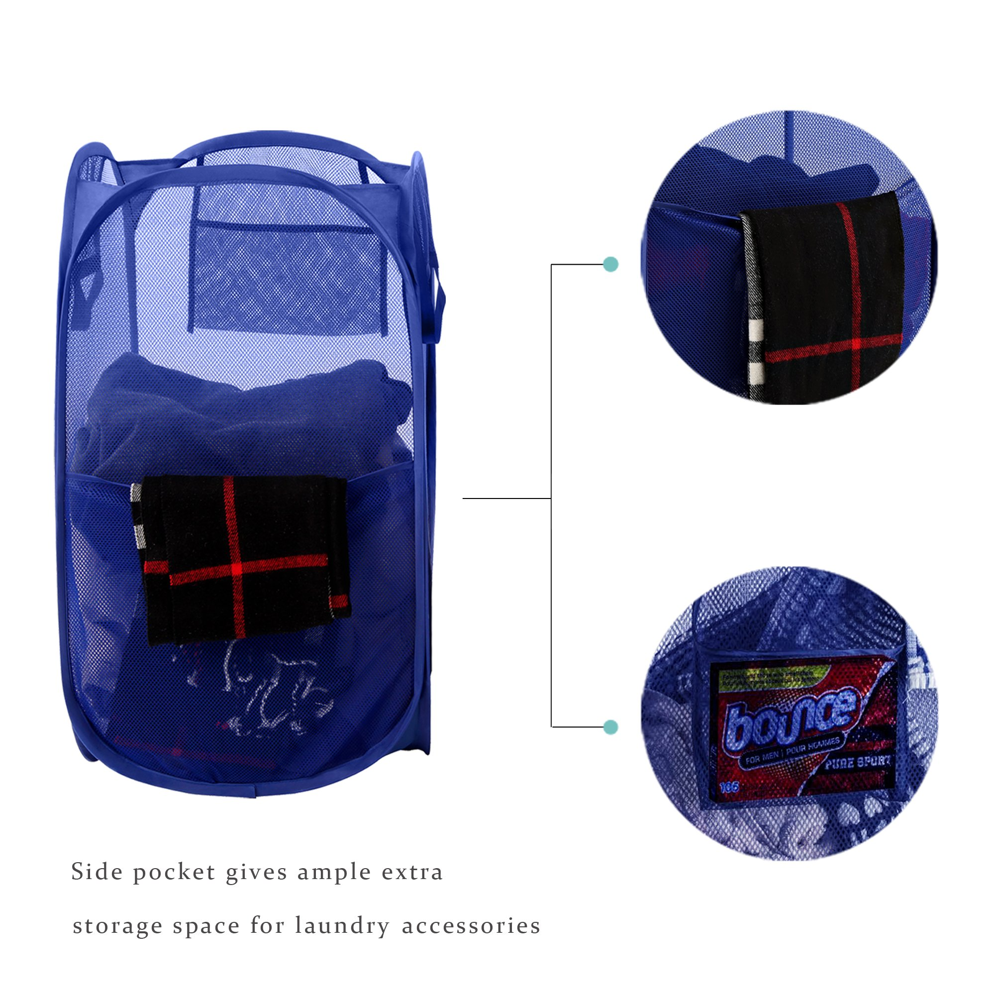 Bagail 2-Pack Pop-up Mesh Laundry Hamper with Reinforced Carry Handles,Foldable Collapsible Laundry Basket with Side Pocket by BAGAIL (Image #3)