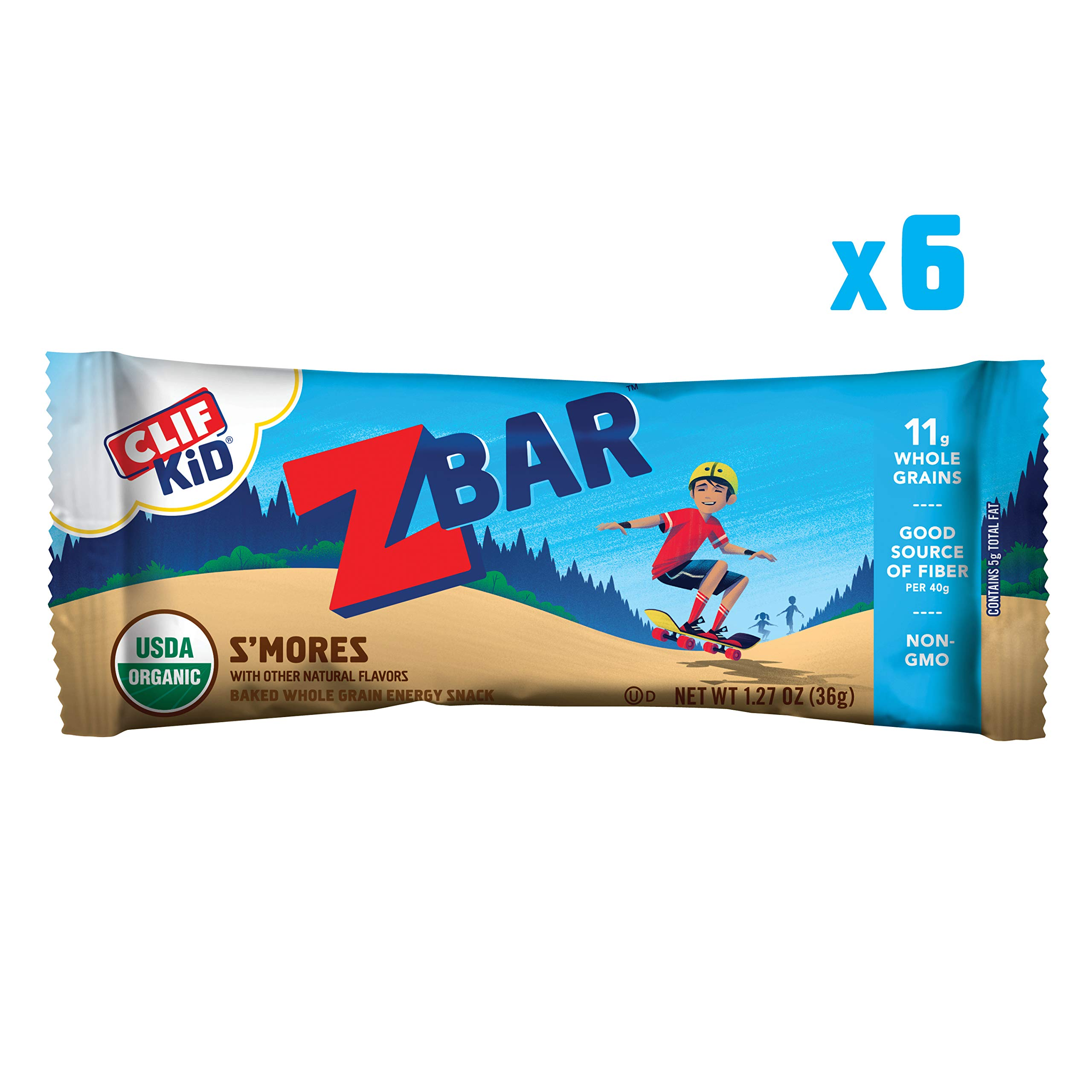 CLIF KID ZBAR - Organic Energy Bar - S'mores - (1.27 Ounce Snack Bar, 6 Count) (packaging may vary)