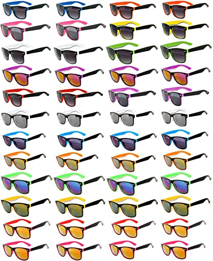9133af910e37 Amazon.com  48 Pieces Per Case Wholesale Lot Sunglasses. Assorted Colored  Frame Fashion Sunglasses.Bulk Sunglasses - Wholesale Bulk Party Glasses