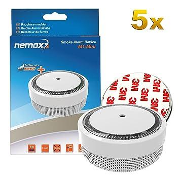 5X Nemaxx Detector de Humo M1-Mini Blanco - sensibilidad fotoeléctrica - Certificado VDS y con batería de ...