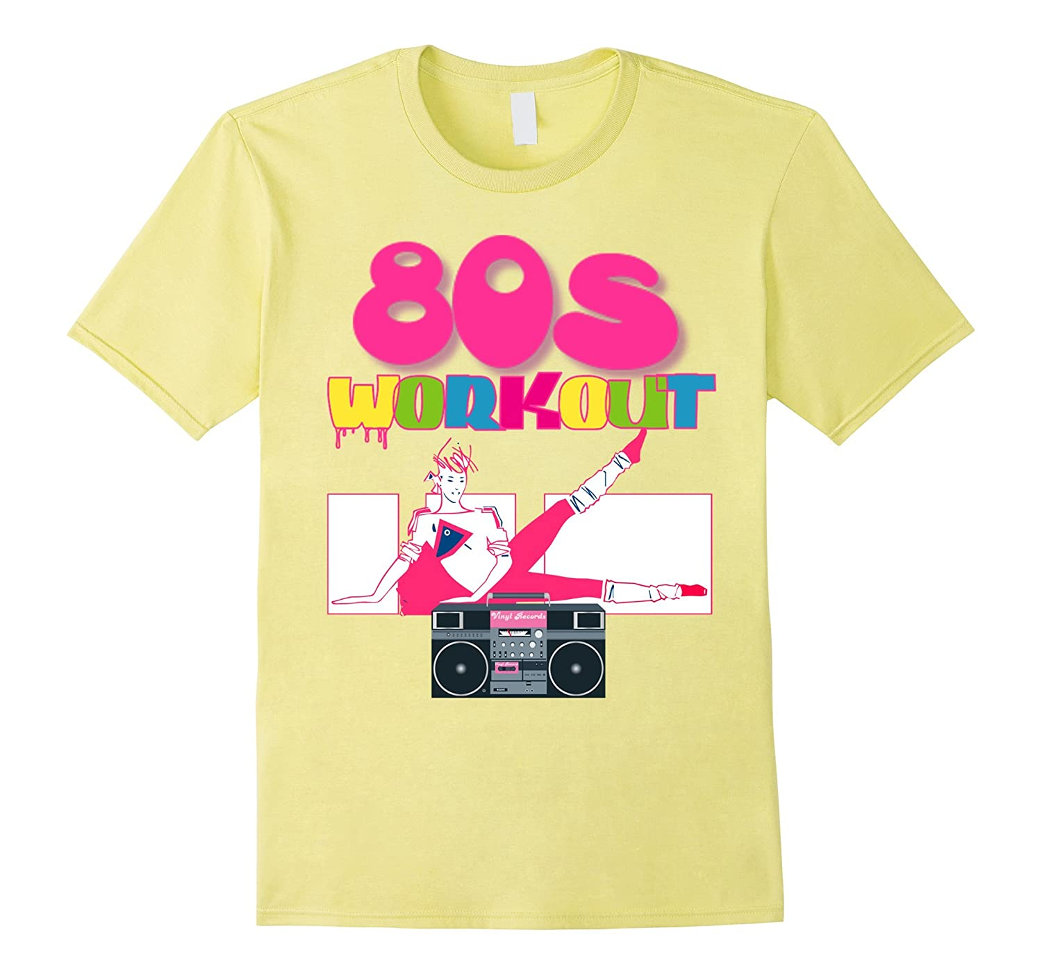 Cute Neon Pink 80s Workout Shirt Women Outfit Costume Top Anz