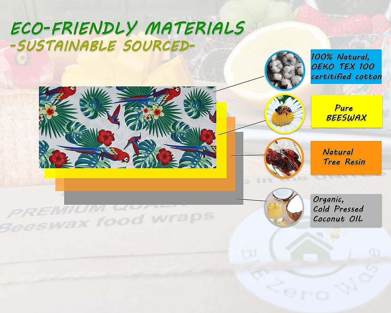 lot de 4 couleurs al/éatoires emballage alimentaire r/éutilisable Emballages de cire dabeille eco cadeau BEE Zero Waste fait /à la main couvercles /écologiques biod/égradables et sans plastique