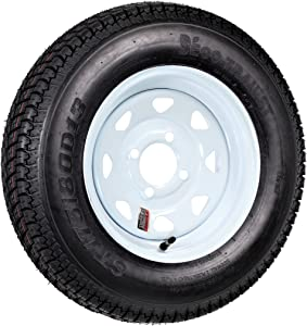 Trailer Tire On Rim ST175/80D13 175/80 D 13 Load C 4 Lug White Spoke Wheel