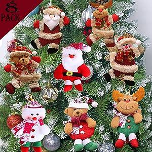 Plush Christmas Ornaments Set 8 Pieces Christmas Tree Pendant Decorations Hanging Ornaments Santa Clause Snowman Reindeer Bear Plush Toys Xmas Ornaments for Christmas Holiday Party Decor