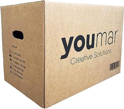Youmar Solutions - 10 Cajas de Cartón para Mudanza (Talla XL) con Asas - Extra Resistentes Fabricadas en España - 55x34x39cm Gramaje Ultra Resistente 600g/m2 - Combina las Cajas de Cartón (M/XL):