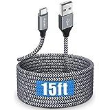 Cabo USB tipo C longo de 4,5 m, etguuds USB A 2.0 para USB C, cabo carregador de nylon trançado de carregamento rápido, compa
