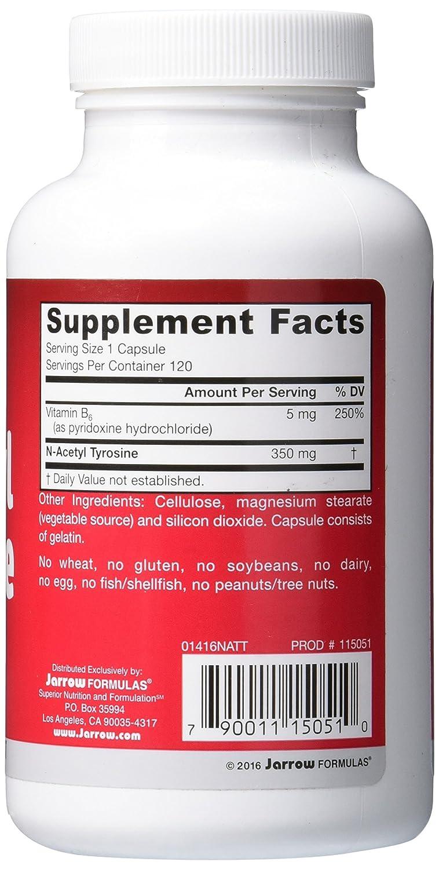 Jarrow Formulas, N-Acetil-Tirosina - 350mg x120caps: Amazon.es: Salud y cuidado personal