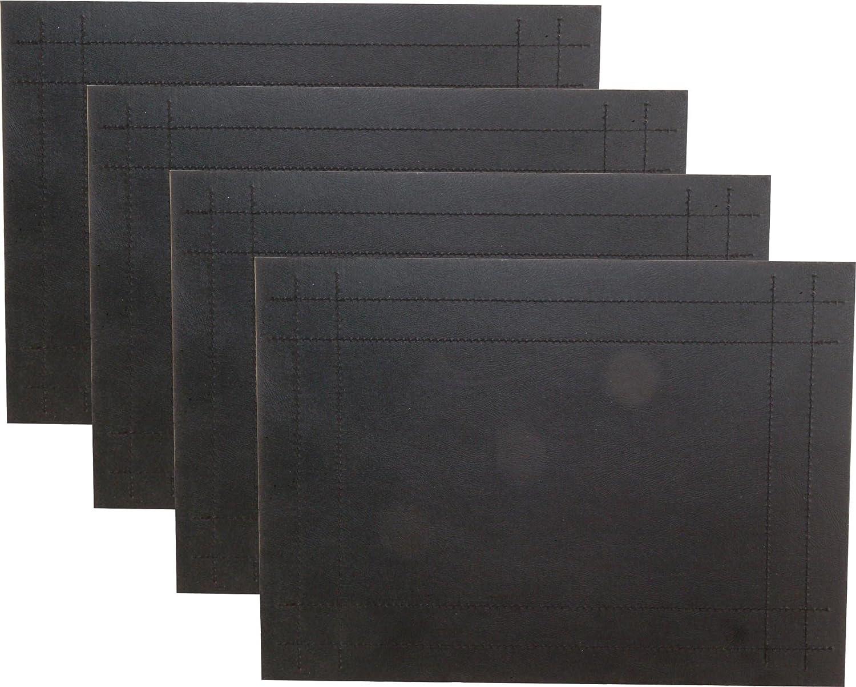 Set Of 4 Black Stitching Faux Leather Placemats: Amazon.co.uk: Kitchen U0026  Home