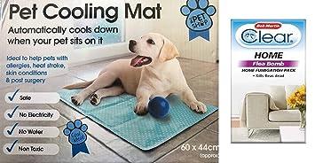 Alfombrilla refrigerante de gel para mascotas, de 60 x 44 cm y color azul