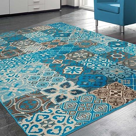 UNAMOURDETAPIS Tapis Moderne Carreaux de Ciment BC faian Bleu, Marron,  Beige 60 x 110 cm