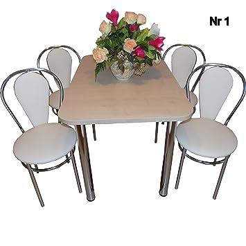 All4all Design Esstisch Küchentisch Bistrotisch Ahorn Mit Chromfuß 100x60 +  2 Stühle