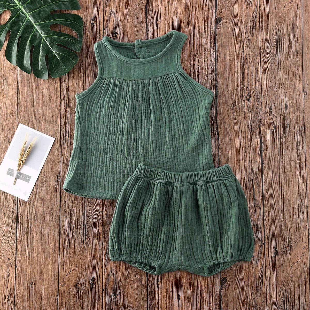 Blotona Toddler Girl Boy Summer Cotton Linen Outfits Sleeveless Top Basic Plain Shorts Sets