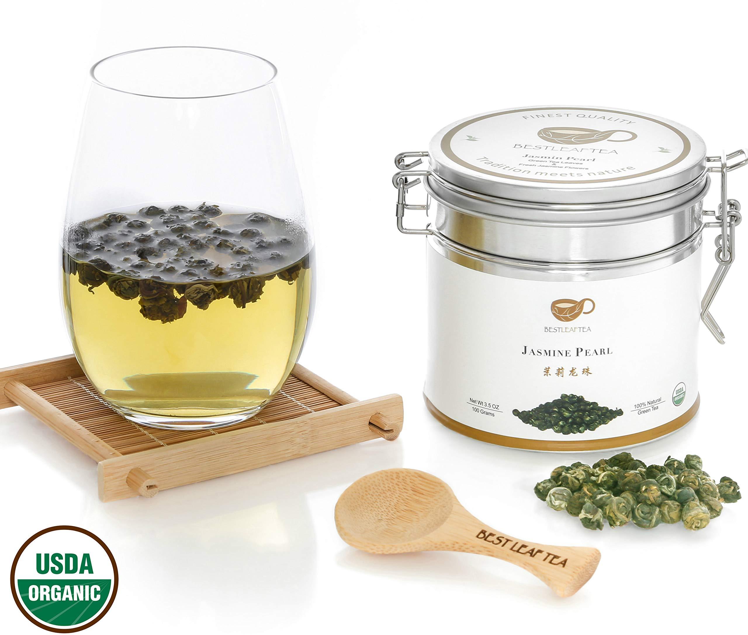 BESTLEAFTEA- Spring Picked Organic Jasmine Pearl Green Tea/Top Quality Chinese Loose Leaf Tea 100 gram/3.5 OZ