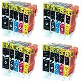 Cartouches Encre avec puce Compatible CANON 4 Packs = 20 PGI520BK + CLI521BK + CLI521C + CLI521M + CLI521Y pour imprimantes Canon Pixma IP3600 / Pixma IP4600 / IP4700 / Pixma MP980 / MP630 / MP620 / MP540 / MP560 / MP550 / MP640 / MP980 / MP990 - (Silvertrade ©)