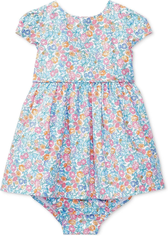 RALPH LAUREN Baby Girls 2-Piece Floral Cotton Dress /& Bloomer Set Pink Multi