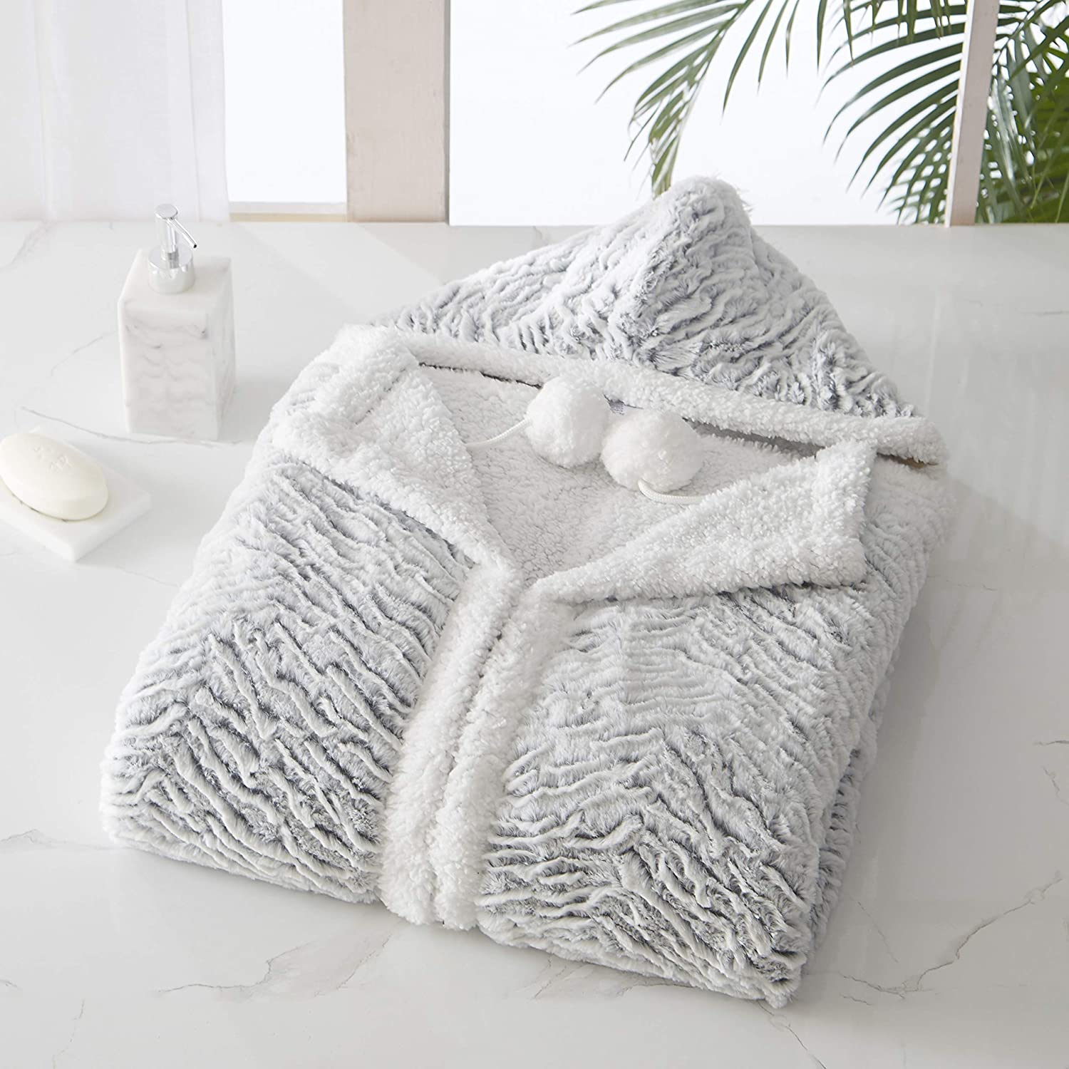 """Chic Home Dohwa Snuggle Hoodie Animal Pattern Robe Cozy Super Soft Ultra Plush Micromink Coral Fleece Sherpa Lined Wearable Blanket with 2 Pockets Hood Drawstring Closure, 51"""" x 71"""""""