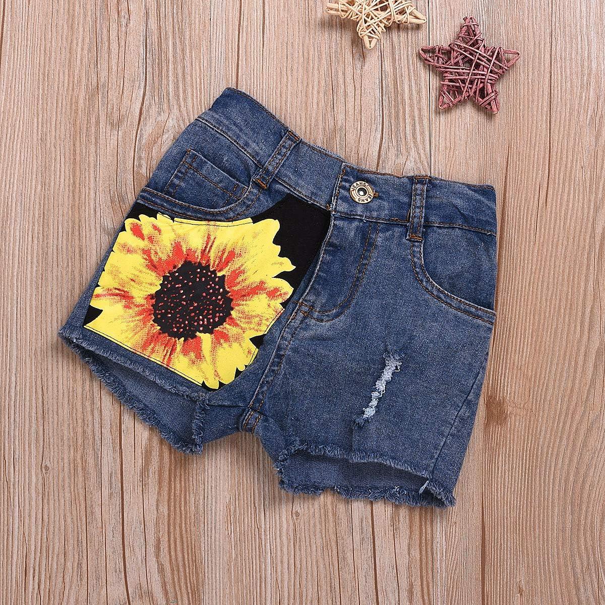 Jeans Shorts Sonnenblume Kleidung Set 1-8 t Kleinkind M/ädchen Buchstaben /ärmelloses Top