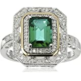 Sterling Silver and 14k Yellow Gold Emerald Cut Created Emerald and Diamond Accent Art Deco-Style Ring