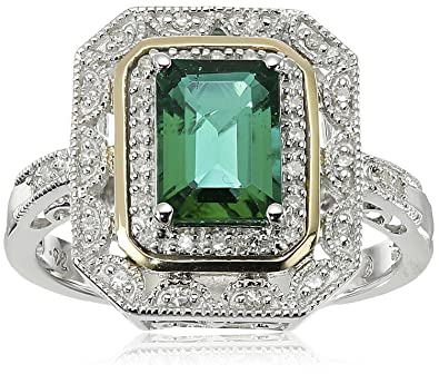 Amazon Sterling Silver and 14k Yellow Gold Emerald Cut