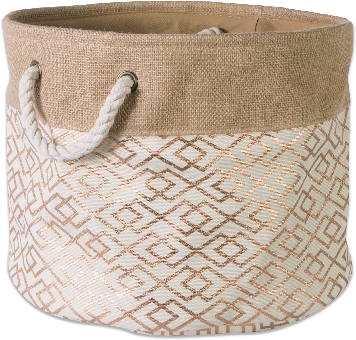 DII CAMZ37150 Collapsible Burlap Storage Basket or Bin with Durable Cotton Handles, Home Organizational Solution for Office, Bedroom, Closet, Toys, & Laundry (Medium Round - 15x12