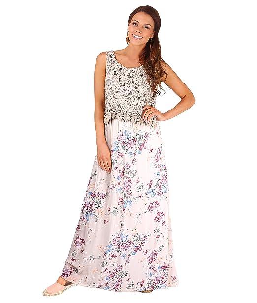 KRISP Vestido Largo Flores Croché[Piedra,M/L]
